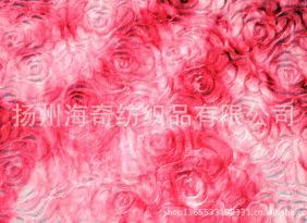 扎染刷玫瑰花PV绒,大玫瑰刷花PV绒,刷花南韩绒