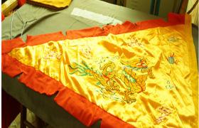 厂家三角令旗道教旗 五色旗 刺绣龙排丝锦旗 单面 多种规格