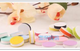 国产双层圆形夹心  雕刻橡皮砖/橡皮章  直径2.5CM  十色可选