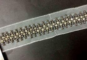 厂家现货批发 手工钉珠条码 电镀珠A钻网布钉珠 手工钉珠花边