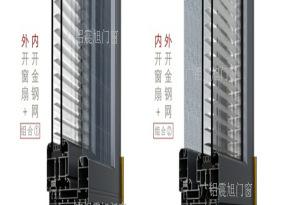 广铝震旭高端铝合金系统门窗128系列平开窗带新精钢网内开内倒窗