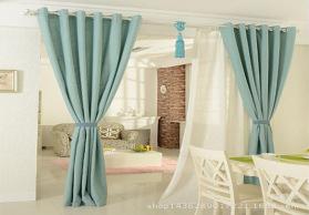 厂家直销供应现货简约风格细纹棉麻窗帘仿麻小竹节纯色细麻工程布