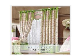 柯桥窗帘厂家直销 高档田园客厅窗帘定制成品 提花拼接遮光窗帘布