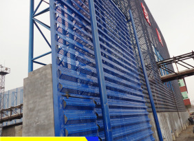 防风抑尘网厂家供应煤场单双峰防风抑尘网 蓝色金属防风抑尘网