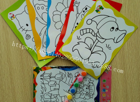 六连体水彩画水粉画批发儿童涂鸦画 幼儿入门填色画每套5张画纸