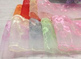 廠家熱賣diy蕾絲網紗系列 雙邊多色兩支花定型紗 寬約8cm