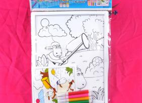 新款创意卡通填色画 立体塑料 3D水彩画DIY手工 幼儿水彩画