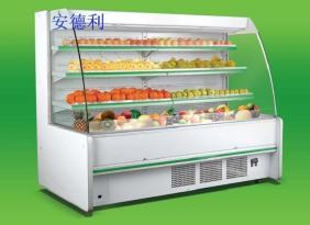 供应厂家防雾运行稳定可靠弧形水果风幕柜  饮料冷藏柜