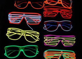 佛山EL发光眼镜 EL冷光百叶窗太阳镜 年终晚会舞会酒吧气氛道具