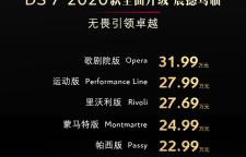 2020款DS7正式上市 售价20.89-31.99万元,
