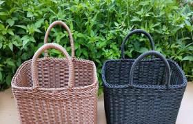 仿藤編織籃子手提菜籃PP編織購物籃塑料編織買菜籃禮品籃