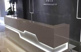 公司烤漆前台接待台时尚带灯前台美容院前台桌收银台办公台定做