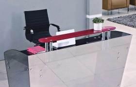 宇纳办公家具办公桌前台接待桌吧台收银台钢化玻璃电脑桌前台桌