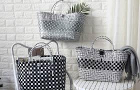 仿藤編復古系大號提籃收納籃大容量購物籃塑編手提袋進口