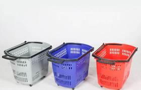 铭益超市购物篮购物车拉杆KTV塑料篮手提篮便利店筐子买菜篮带轮
