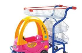 超市购物儿童手推车超市商场便利店小推车儿童商超金属手推车